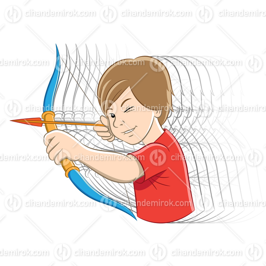Archer Boy Cartoon with Motion Ghosting and Colorful Outlines