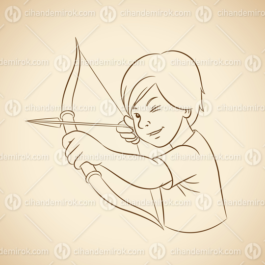 Archer Boy with Brown Outlines on a Beige Background