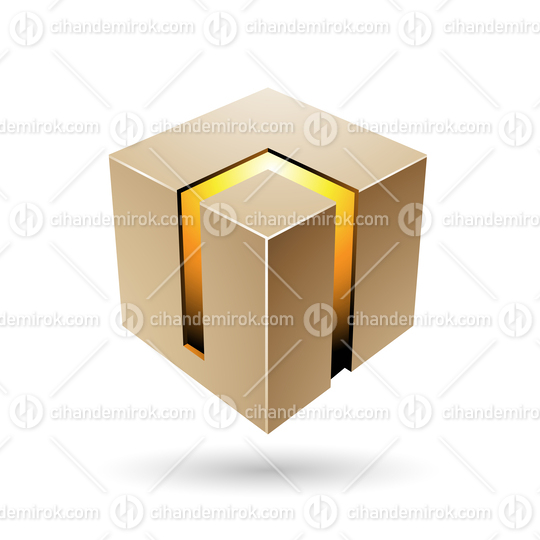 Beige and Yellow 3d Bold Cube