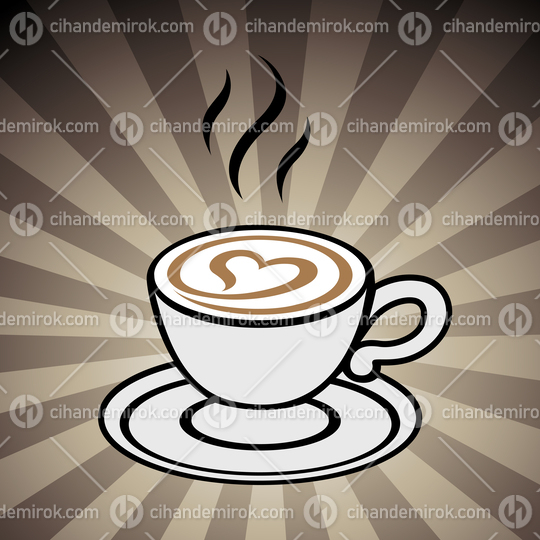 Cappuccino with a Heart Icon on a Brown Striped Background