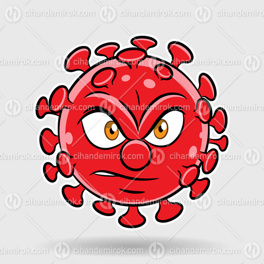 Cartoon Angry Red Coronavirus