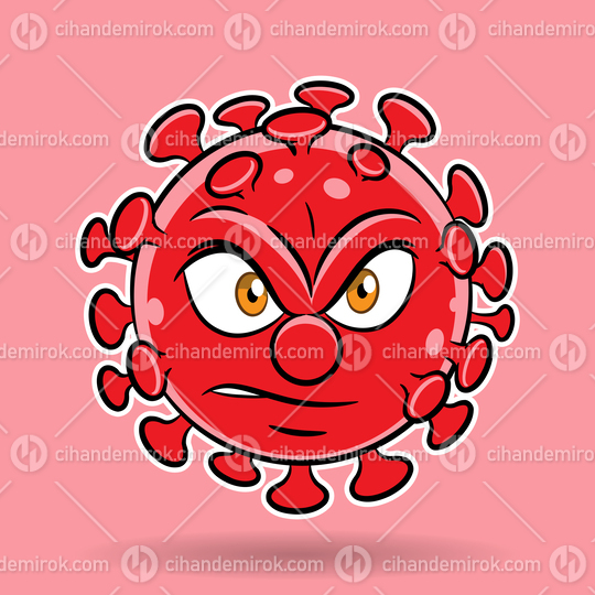 Cartoon Angry Red Coronavirus on a Red Background