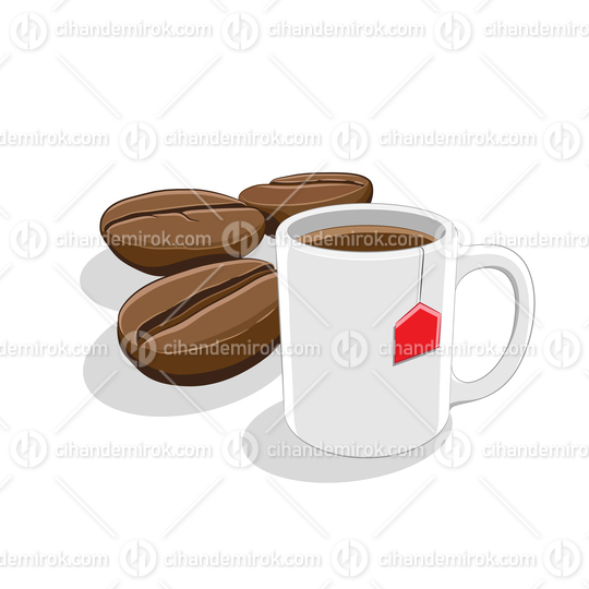 Coffee Beans and Coffee Mug Breakfast Vector Illustration