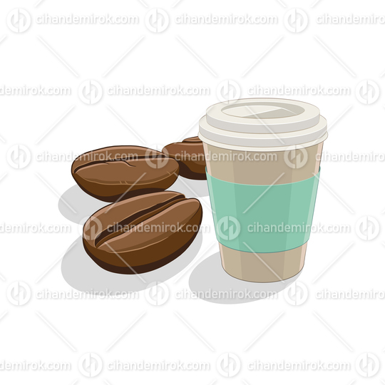 Coffee Beans and Paper Coffee Cup Breakfast Vector Illustration