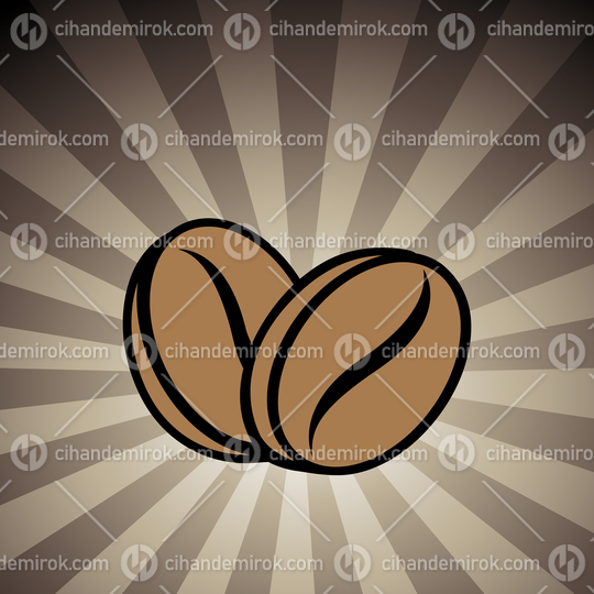 Coffee Beans Icon on a Brown Striped Background