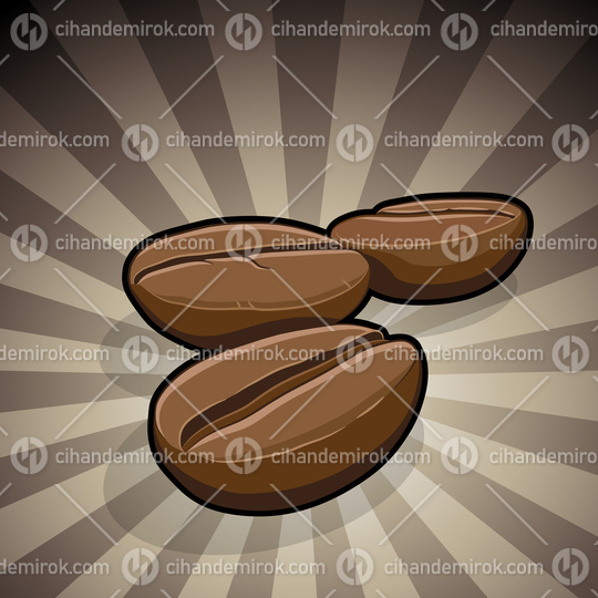 Coffee Beans Illustration on a Brown Striped Background