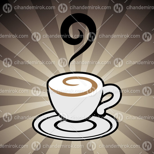 Coffee Cup Icon on a Brown Striped Background