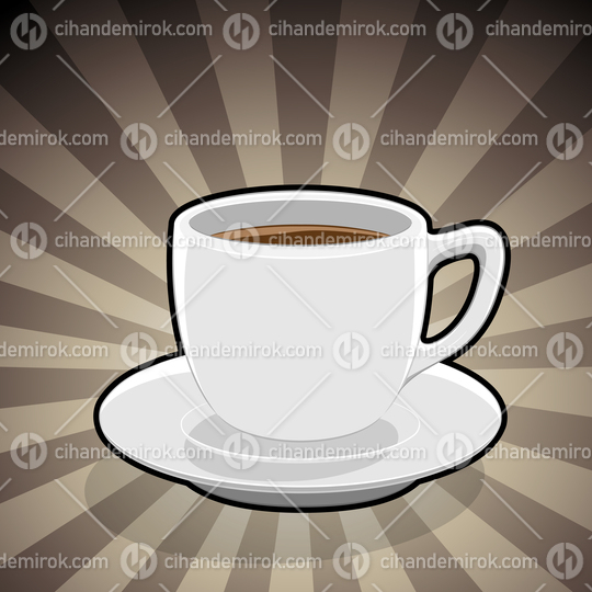 Coffee Cup Illustration on a Brown Striped Background