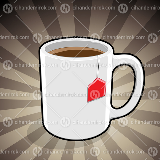 Coffee Mug Illustration on a Brown Striped Background