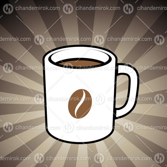 Coffee Mug with a Coffee Bean Icon on a Brown Striped Background