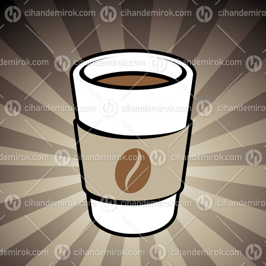 Coffee or Tea Take-Away Cup Icon on a Brown Striped Background