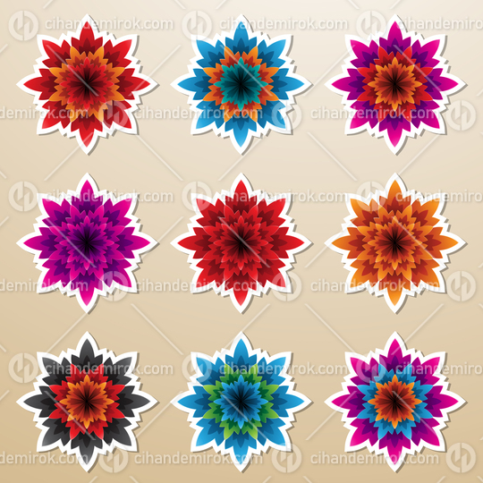 Colorful Bold Flower Stickers with Spiky Petals Vector Illustration