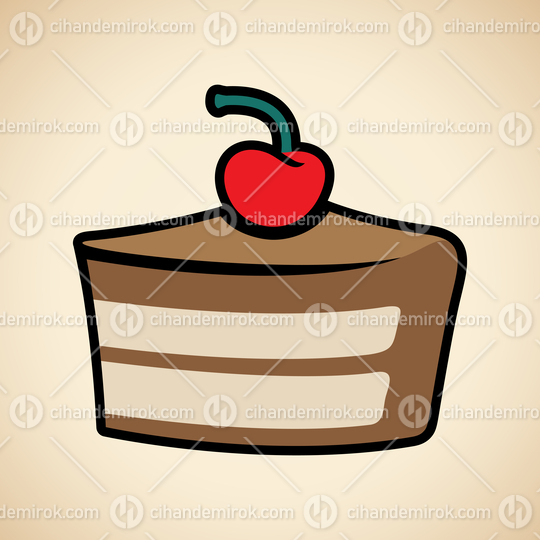 Colorful Cake Icon isolated on a Beige Background