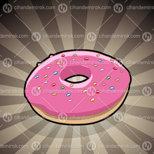 Doughnut Illustration on a Brown Striped Background
