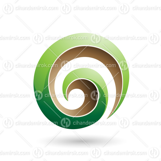 Green and Beige 3d Glossy Swirl Shape Vector Illustration