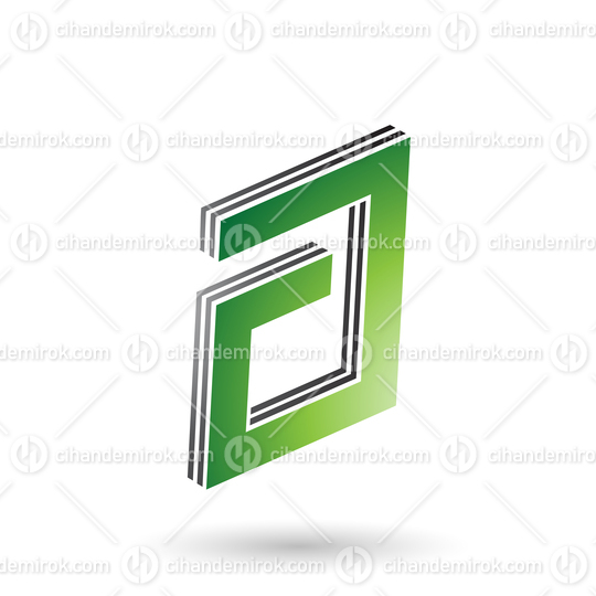 Green and Black Rectangular Layered Letter A