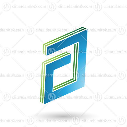 Green and Blue Rectangular Layered Letter A
