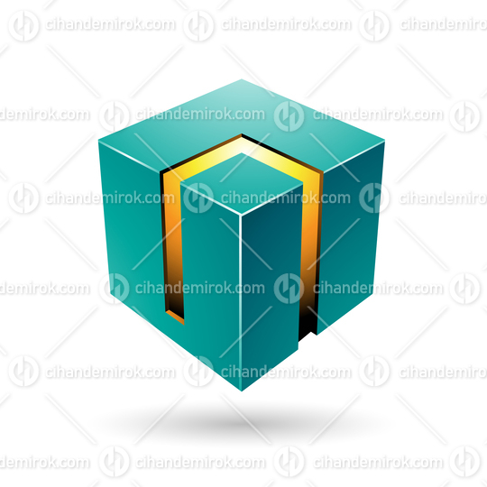 Green and Yellow 3d Bold Cube