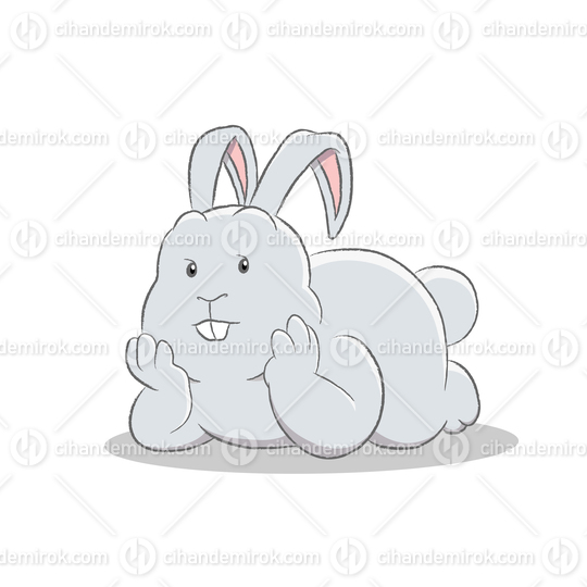 Grey Easter Bunny Lying on Stomach Resting Head on Hands