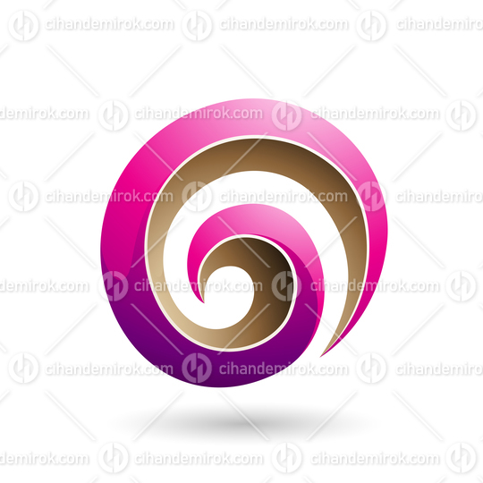 Magenta and Beige 3d Glossy Swirl Shape Vector Illustration