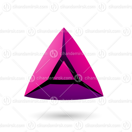 Magenta and Bold 3d Pyramid Vector Illustration
