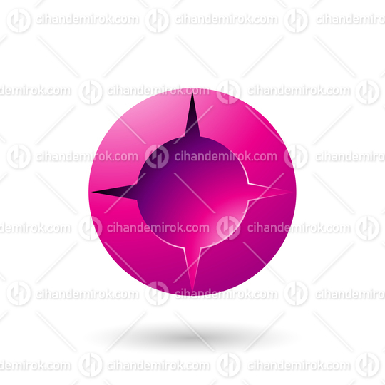 Magenta and Bold Shaded Round Icon Vector Illustration