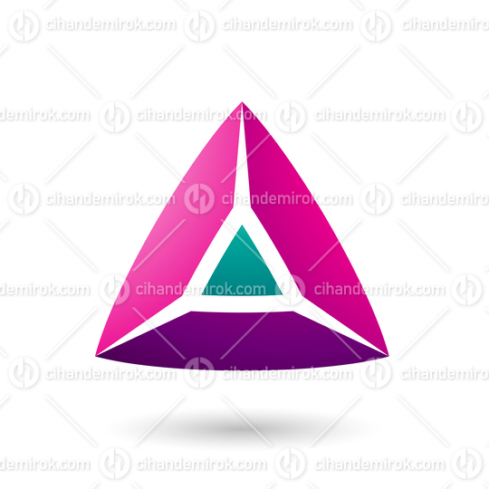Magenta and Green 3d Pyramidical Shape Vector Illustration