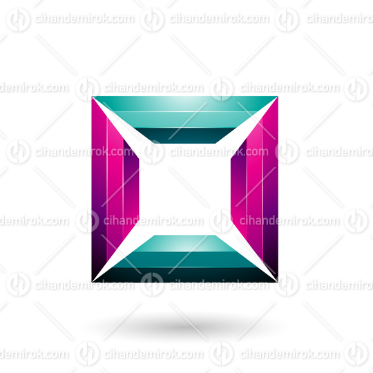 Magenta and Green Glossy Square Frame Vector Illustration
