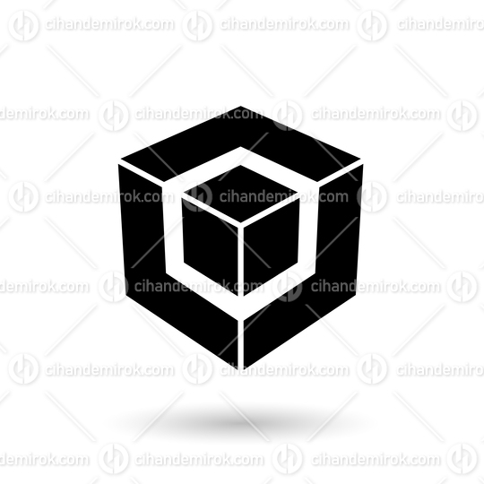 Monochrome Black Cube in Cube Vector Illustration