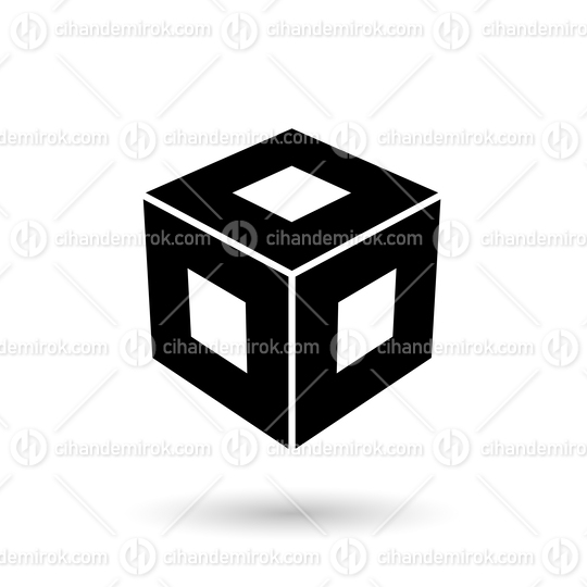 Monochrome Black Square Cube Vector Illustration
