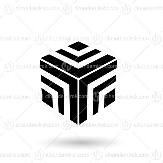 Monochrome Black Striped Cube Vector Illustration