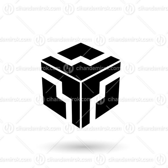 Monochrome Black Zigzag Cube Vector Illustration