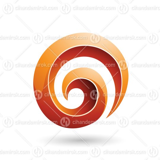 Orange 3d Glossy Swirl Shape Vector Illustration