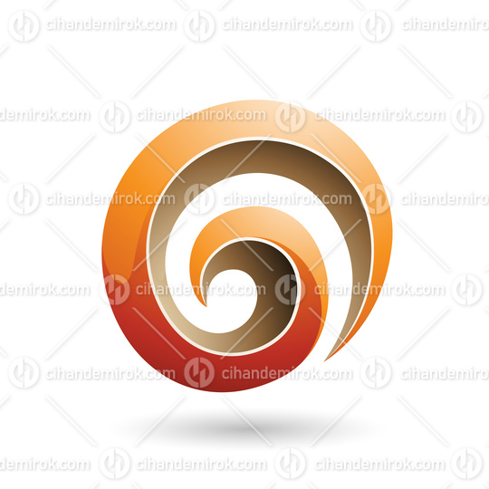 Orange and Beige 3d Glossy Swirl Shape Vector Illustration