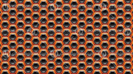 Orange and Black Embossed Hexagon Background Vector Illustration