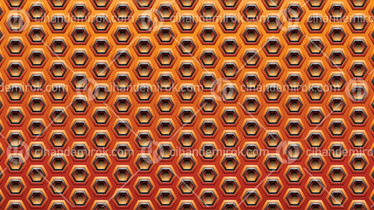 Orange and Black Embossed Spaced-out Hexagon Background