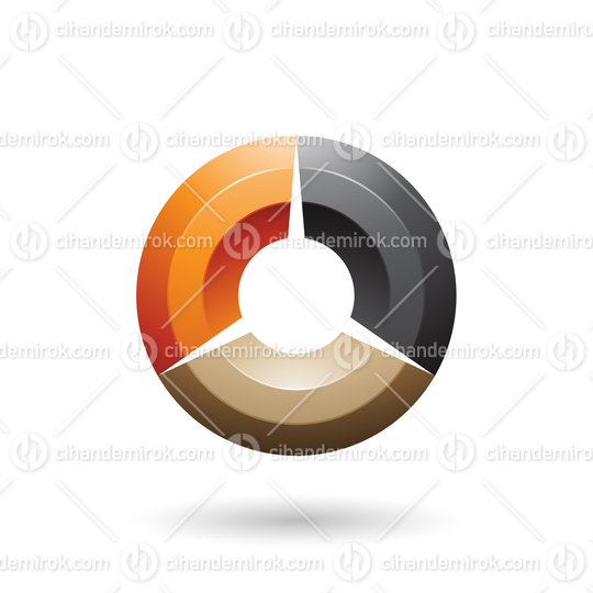 Orange and Black Glossy Shaded Circle Vector Illustration