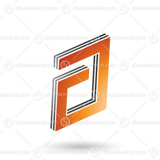 Orange and Black Rectangular Layered Letter A