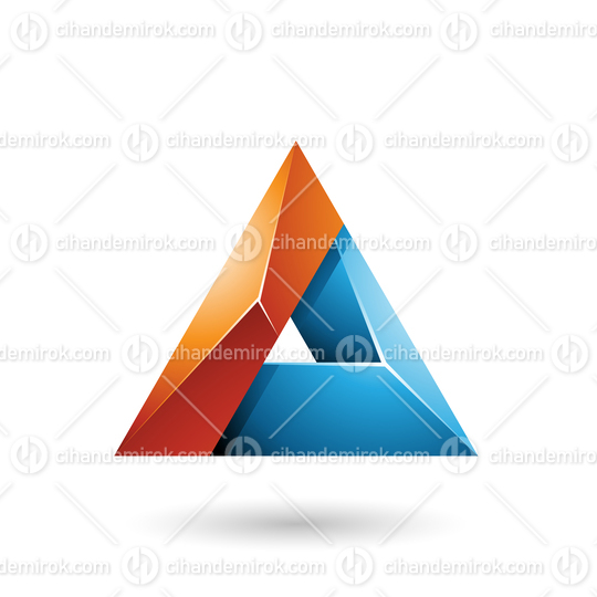 Orange and Blue 3d Glossy Triangle with a Hole Vector Illustration