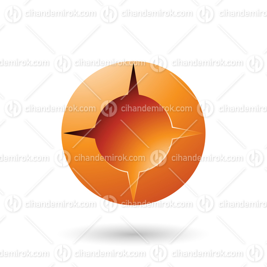 Orange and Bold Shaded Round Icon Vector Illustration
