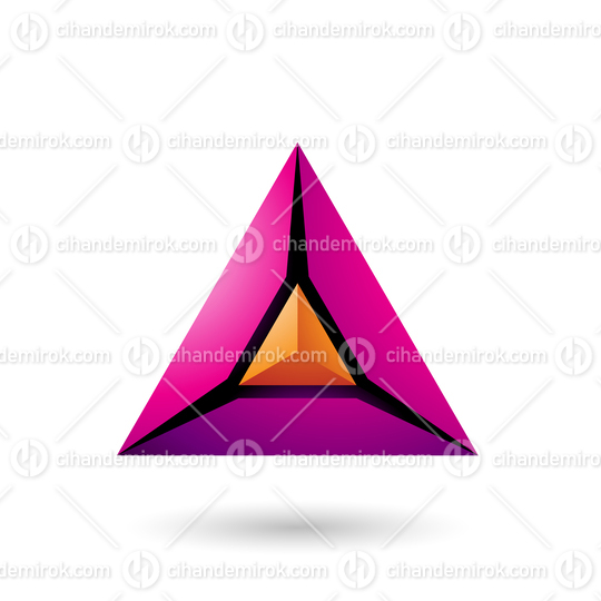 Orange and Magenta 3d Pyramid Icon Vector Illustration