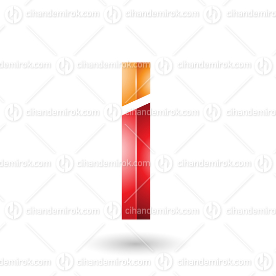 Orange and Red Rectangular Glossy Letter I