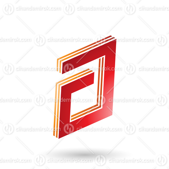 Orange and Red Rectangular Layered Letter A