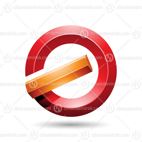 Orange and Red Round Glossy Reversed Letter G or A Icon