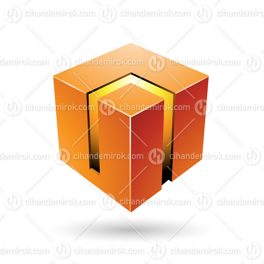 Orange and Yellow 3d Bold Cube