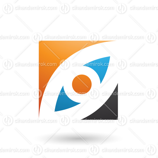 Orange Blue and Black Eye Shaped Square Vector Illustration