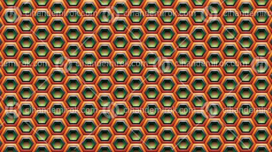 Orange Green and Black Embossed Hexagon Background