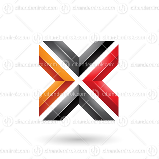 Orange Red and Black Square Shaped Letter X Vector Illustration