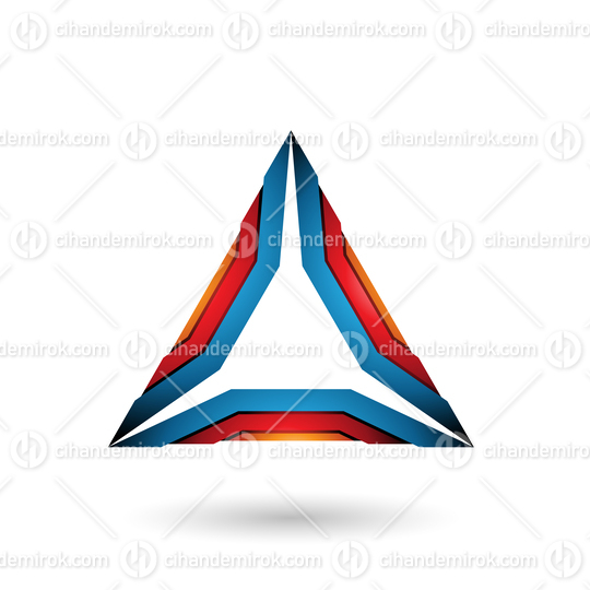 Orange Red and Blue Mechanic Triangle Vector Illustration