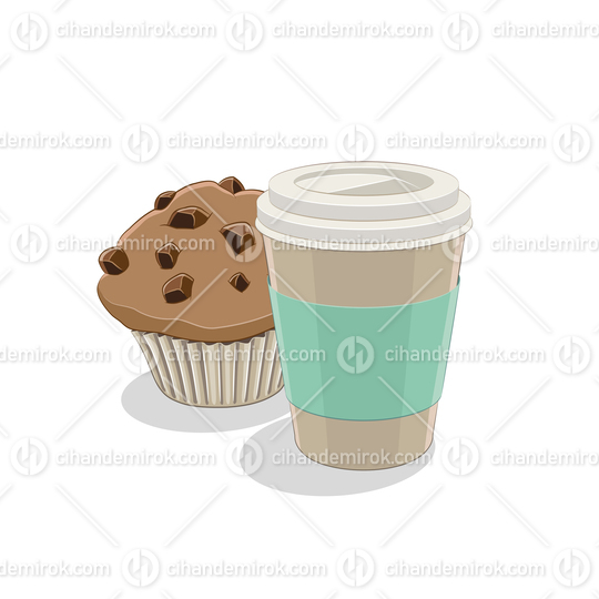 Paper Coffee Cup and Muffin Breakfast Vector Illustration
